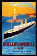 Vintage shipping poster. Holland-America, Rotterdam-New York